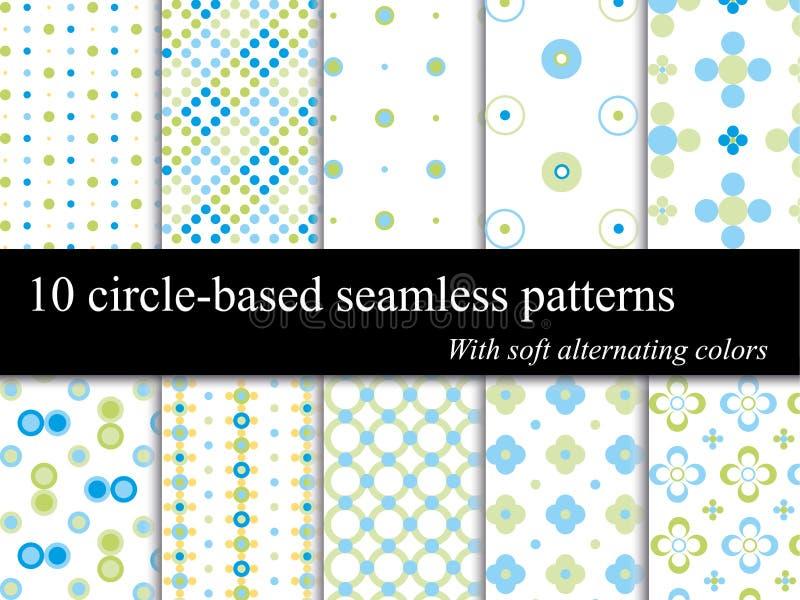 10 testes padrões sem emenda do círculo ilustração do vetor