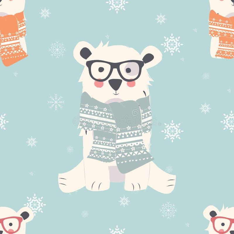 Testes padrões sem emenda do Feliz Natal com os animais bonitos do urso polar ilustração do vetor