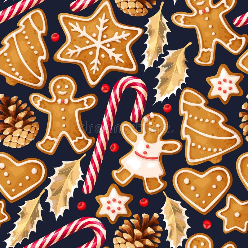 Testes padrões sem emenda do inverno com cookies do pão-de-espécie ilustração royalty free