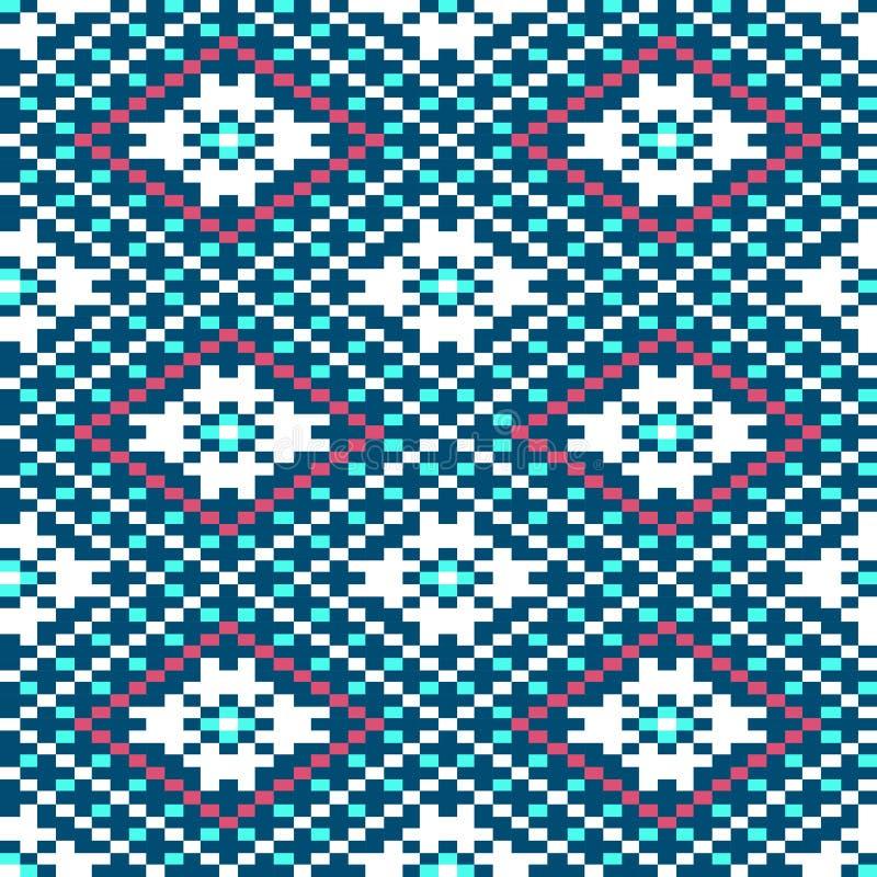 Testes padrões sem emenda do inverno com pixéis ilustração royalty free