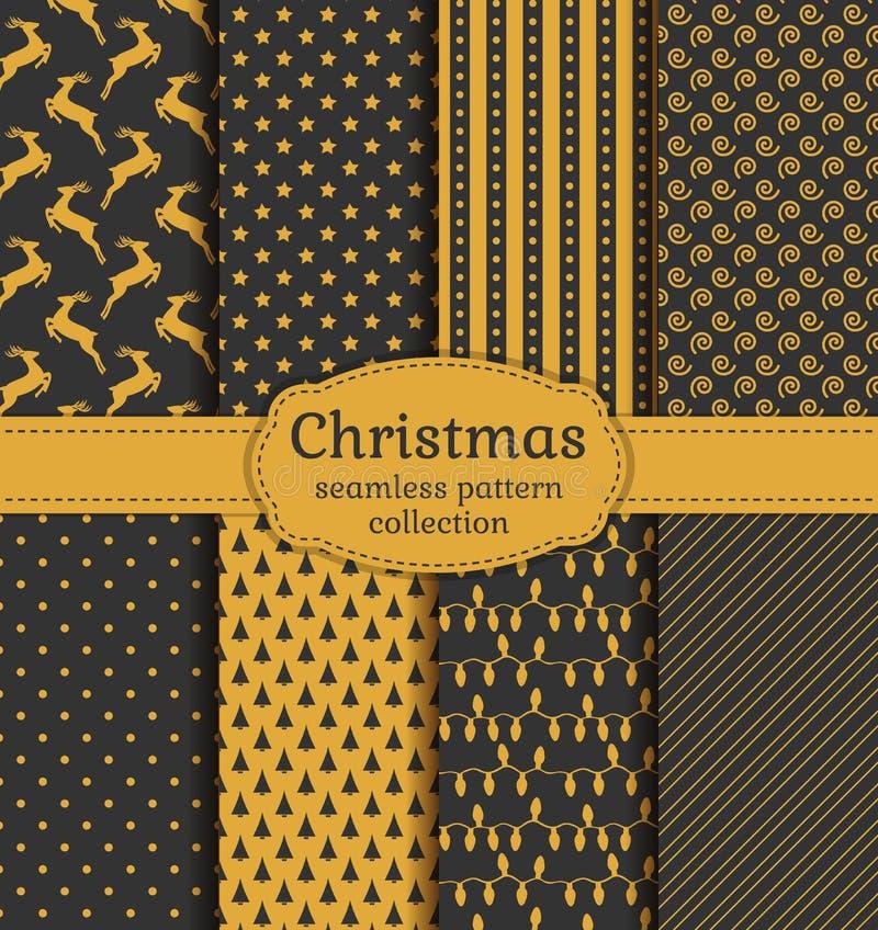 Testes padrões sem emenda do Natal Grupo do vetor ilustração royalty free