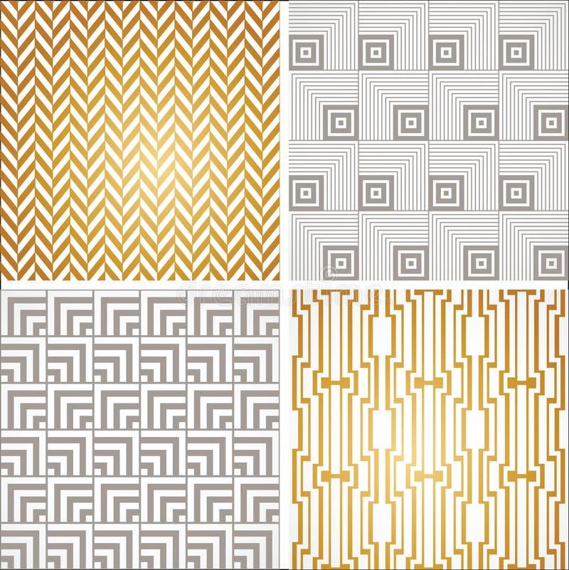 Testes padrões sem emenda do papel de parede do vintage de Art Deco ajustados ilustração royalty free