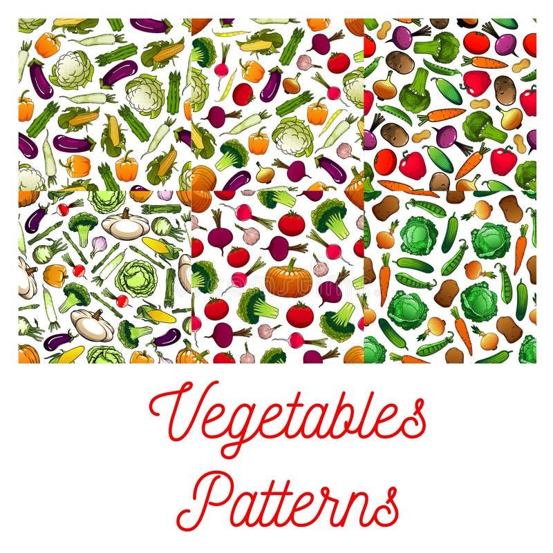 Testes padrões sem emenda do vegetariano dos vegetais ajustados ilustração do vetor