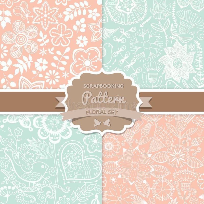 4 testes padrões sem emenda do vetor Chique gasto Testes padrões florais (seamle ilustração royalty free