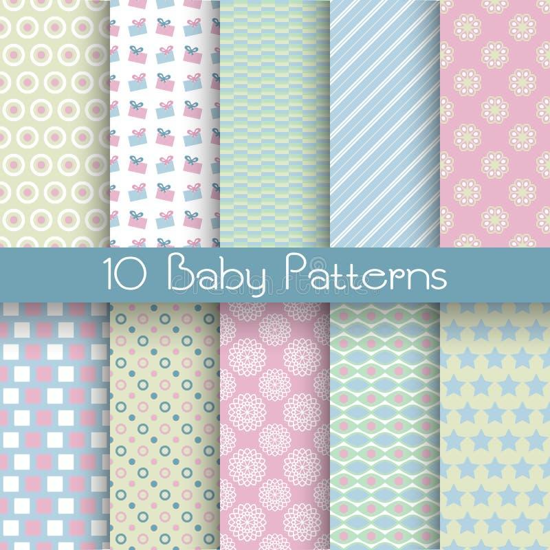 Testes padrões sem emenda do vetor diferente da cor pastel do bebê (telha) ilustração do vetor