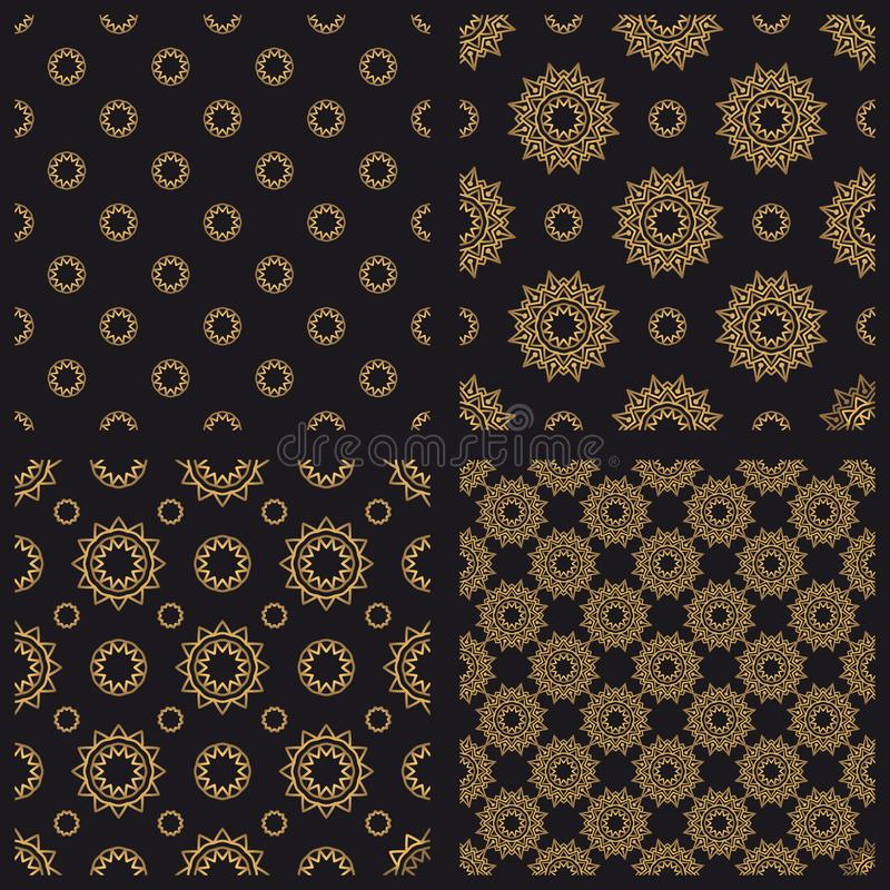 Testes padrões sem emenda do vetor dourado da mandala ajustados ilustração stock