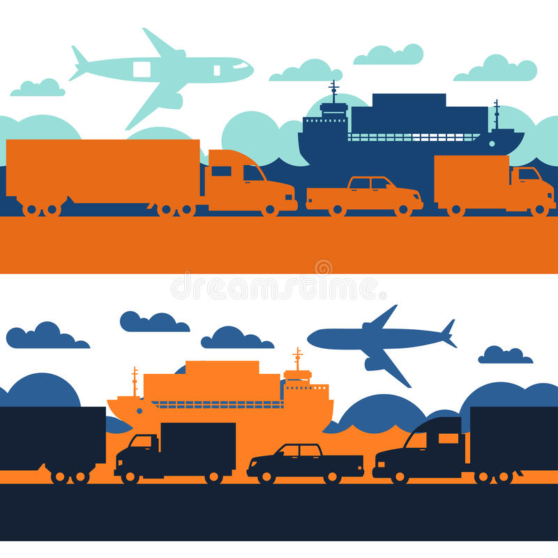 Testes padrões sem emenda dos ícones do transporte de carga do frete dentro ilustração do vetor