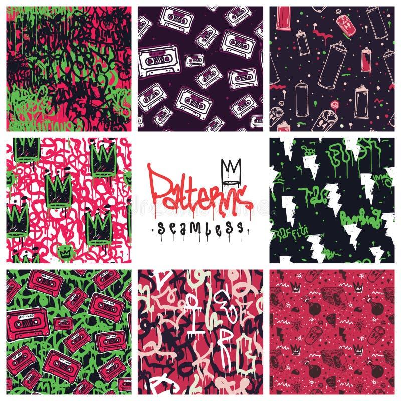 Testes padrões sem emenda dos grafittis ajustados ilustração royalty free