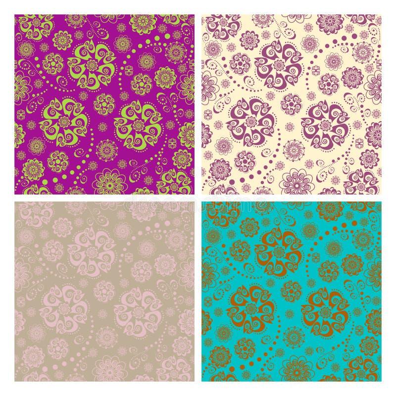 Testes padrões sem emenda florais ajustados ilustração do vetor