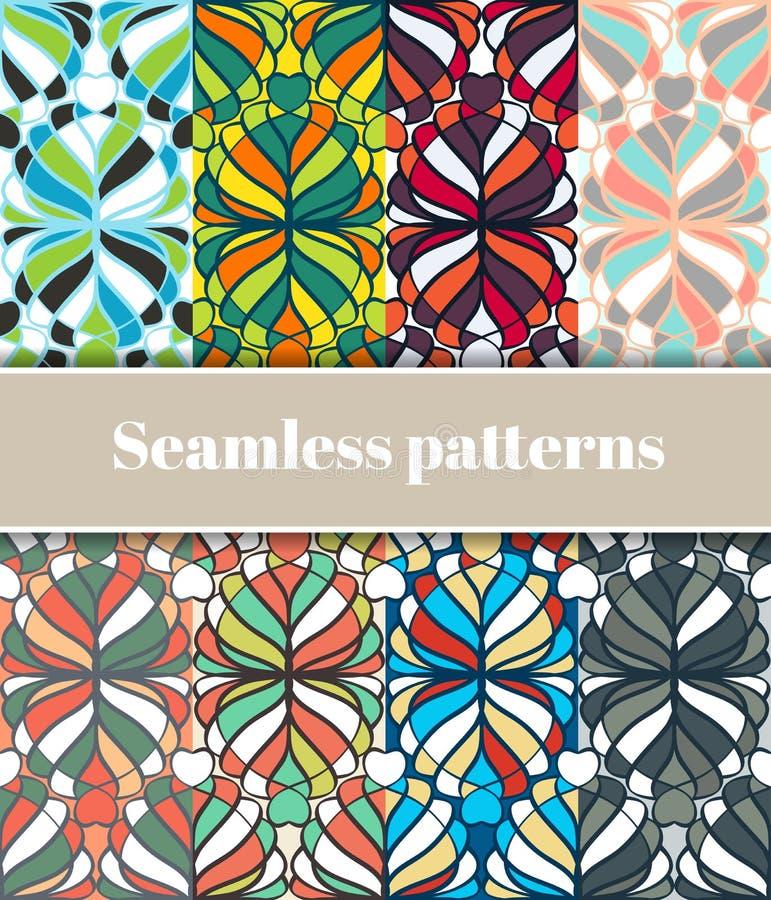 Testes padrões sem emenda florais ajustados ilustração stock