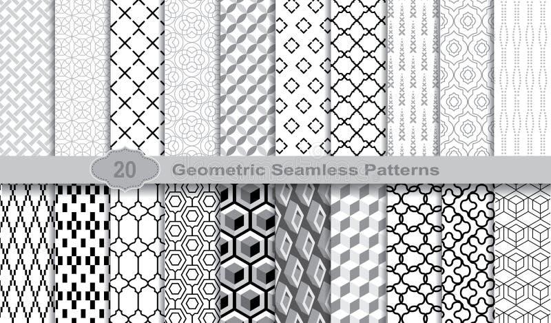 Testes padrões sem emenda geométricos , amostras de folha incluídas para o usuário do ilustrador, amostras de folha do teste padr ilustração stock