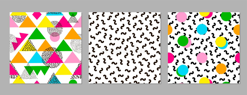Testes padrões sem emenda geométricos coloridos Fundos brilhantes 80 ` s - 90 anos do ` s projetam o estilo ilustração do vetor