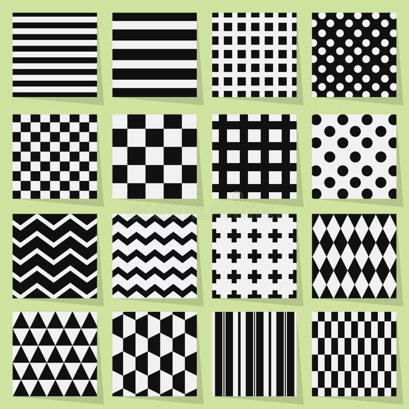 Testes padrões sem emenda geométricos preto e branco ajustados ilustração stock