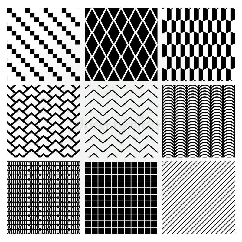 Testes padrões sem emenda monocromáticos geométricos do fundo ilustração royalty free