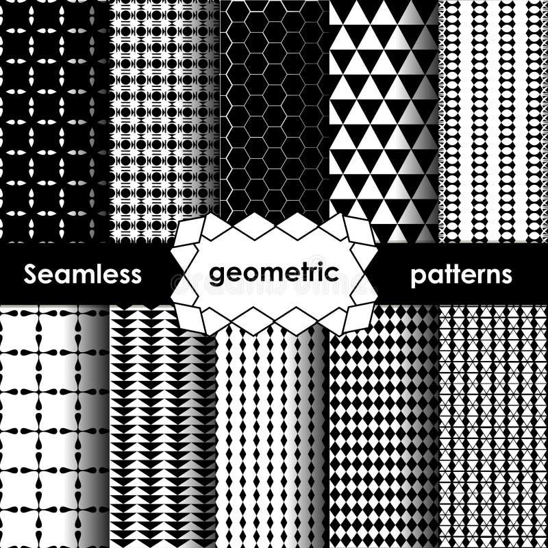 Testes padrões sem emenda preto e branco geométricos do vetor ajustados ilustração stock