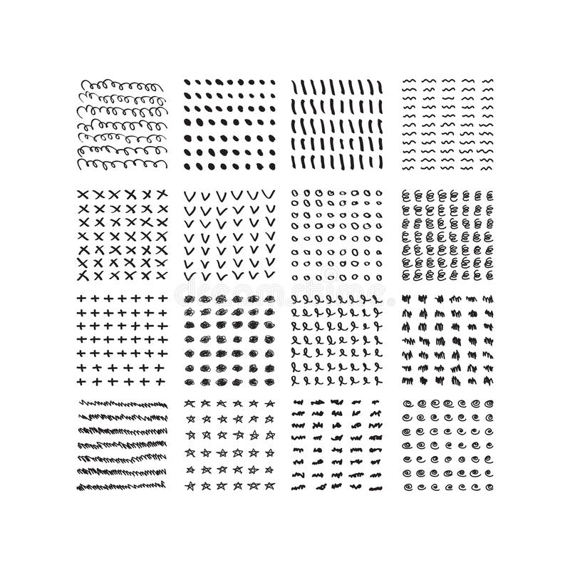 Testes padrões tirados do garrancho das formas mão aleatória de tinta preta ajustados ilustração stock