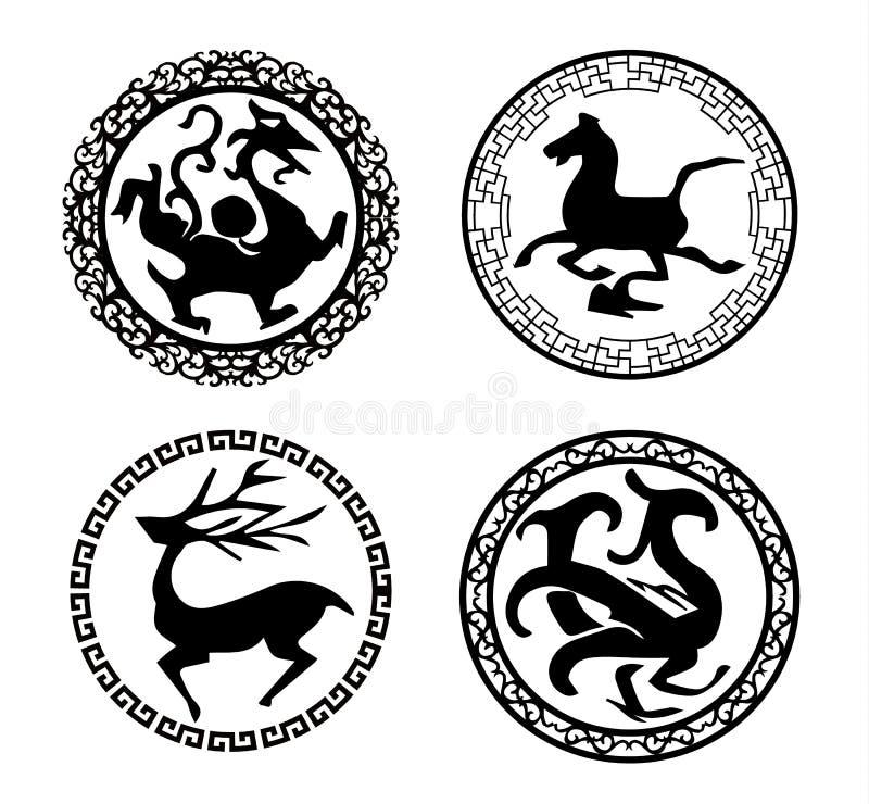 Testes padrões tradicionais chineses ilustração royalty free