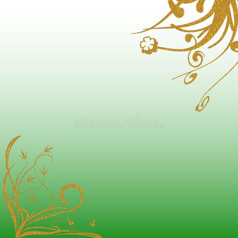 Testes padrões verdes protegidos do ouro do fundo ilustração stock