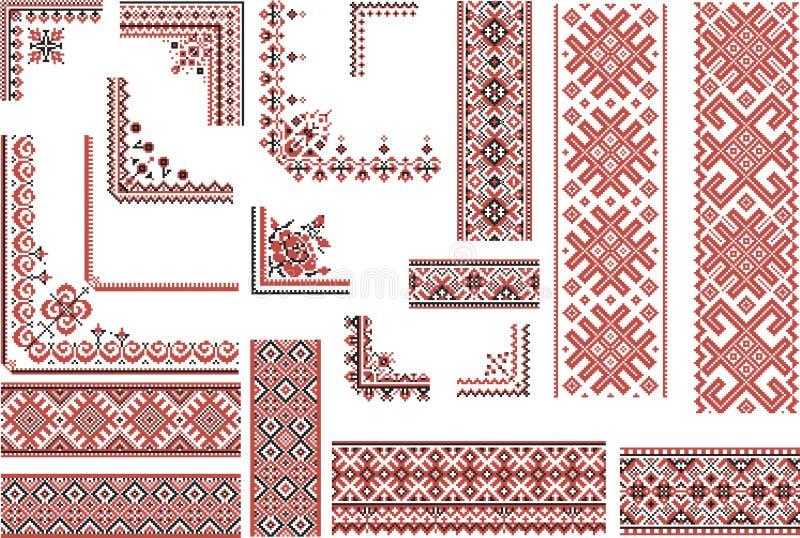 Testes padrões vermelhos e pretos para o ponto do bordado ilustração royalty free