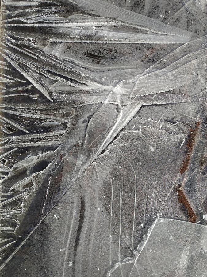 Testes padr?es do gelo em uma po?a congelada imagens de stock royalty free