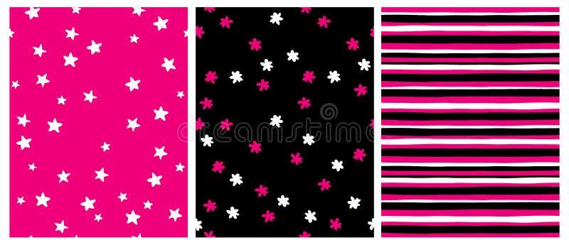 Testes padr?es geom?tricos tirados m?o do vetor do od 3 do grupo Estrelas brancas em um fundo cor-de-rosa ilustração royalty free