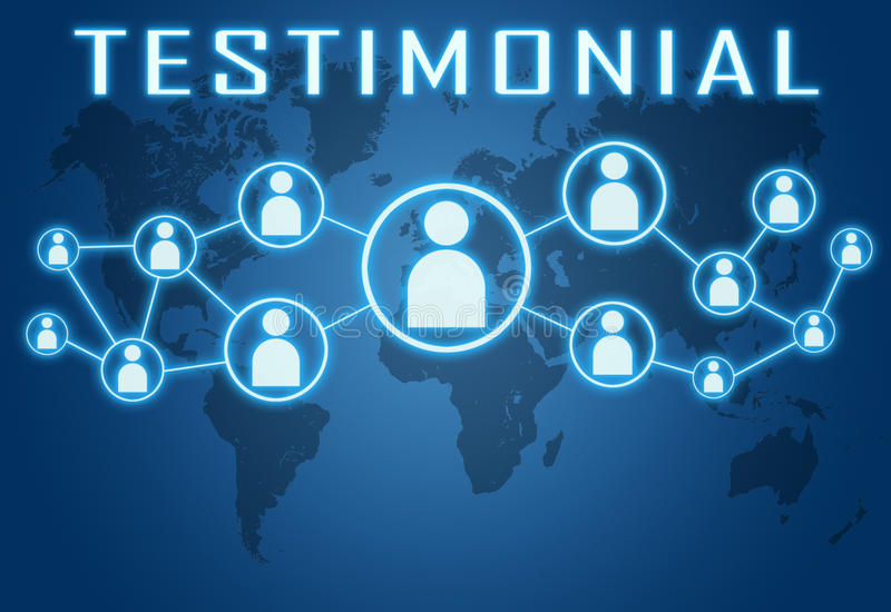 Testimonial. Concept on blue background with world map and social icons stock illustration