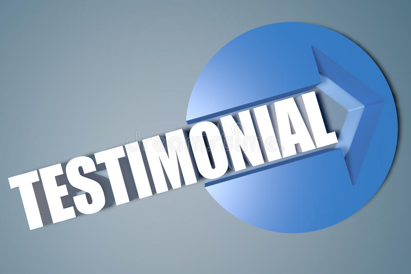 Testimonial. 3d text render illustration concept with a arrow in a circle on blue-grey background vector illustration