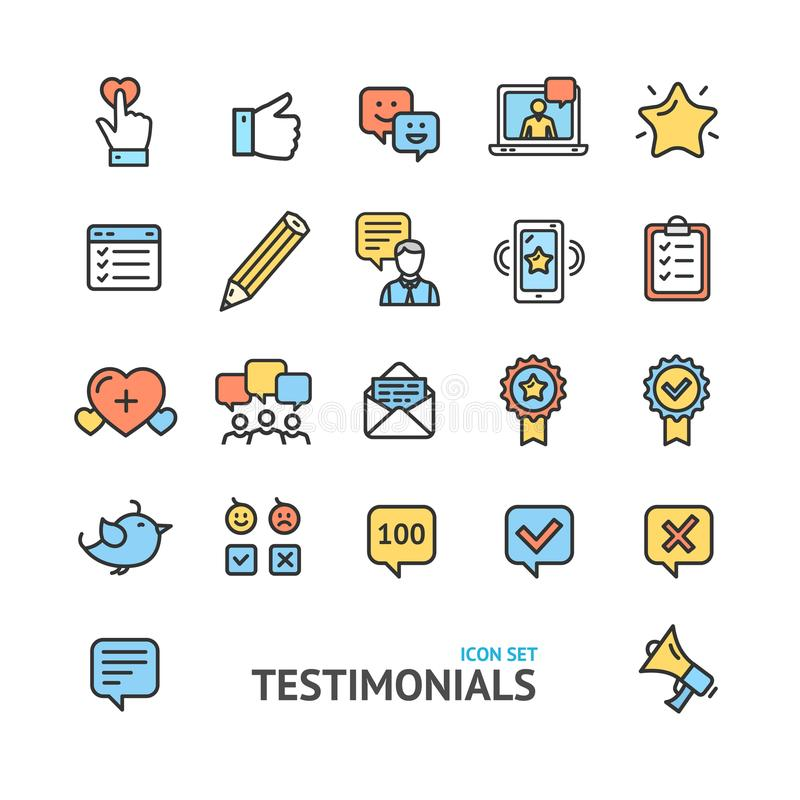 Testimonial, Feedback and Review Signs Color Thin Line Icon. Set Support Quality Marketing Service Satisfaction Customer. Vector illustration stock illustration