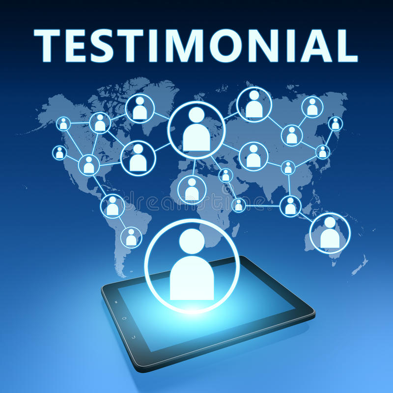 Testimonial. Illustration with tablet computer on blue background stock illustration