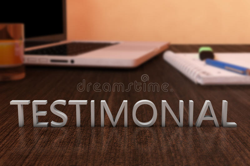 Testimonial. Letters on wooden desk with laptop computer and a notebook. 3d render illustration royalty free illustration