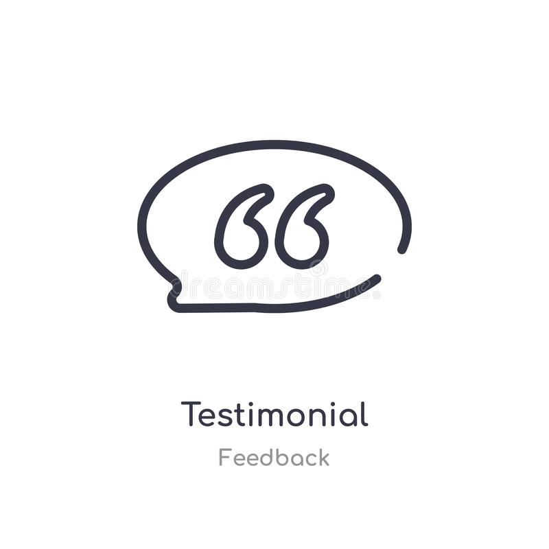 Testimonial outline icon. isolated line vector illustration from feedback collection. editable thin stroke testimonial icon on. White background vector illustration