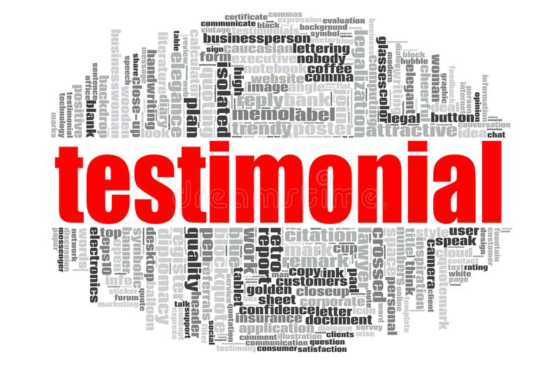 Testimonial word cloud. Concept on white background, 3d rendering royalty free illustration