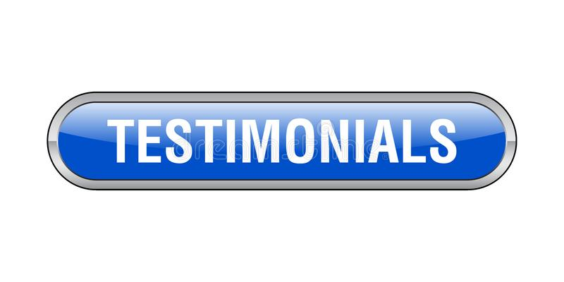 Testimonials button. Testimonials web button - computer generated illustration on isolated white background royalty free illustration