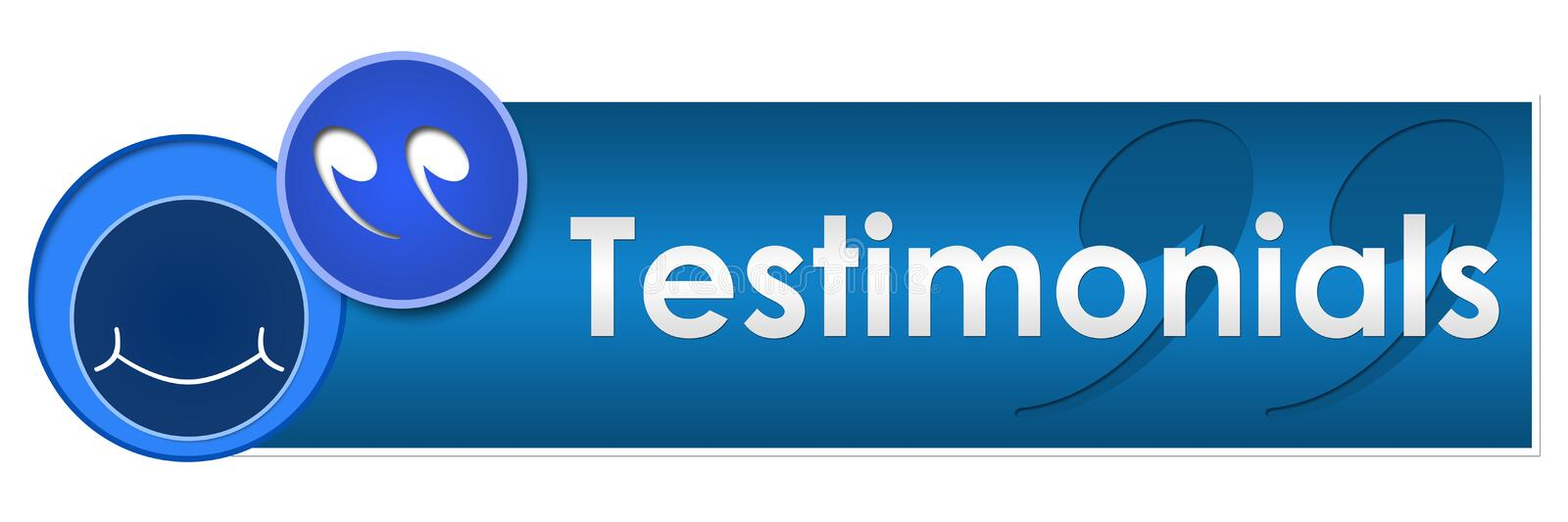 Testimonials Circles Square. A banner image for testimonials with smile and testimonials text royalty free illustration