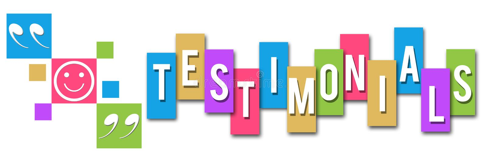 Testimonials Colorful Squares Elements. Testimonials concept image with elements and text over various colorful background royalty free illustration