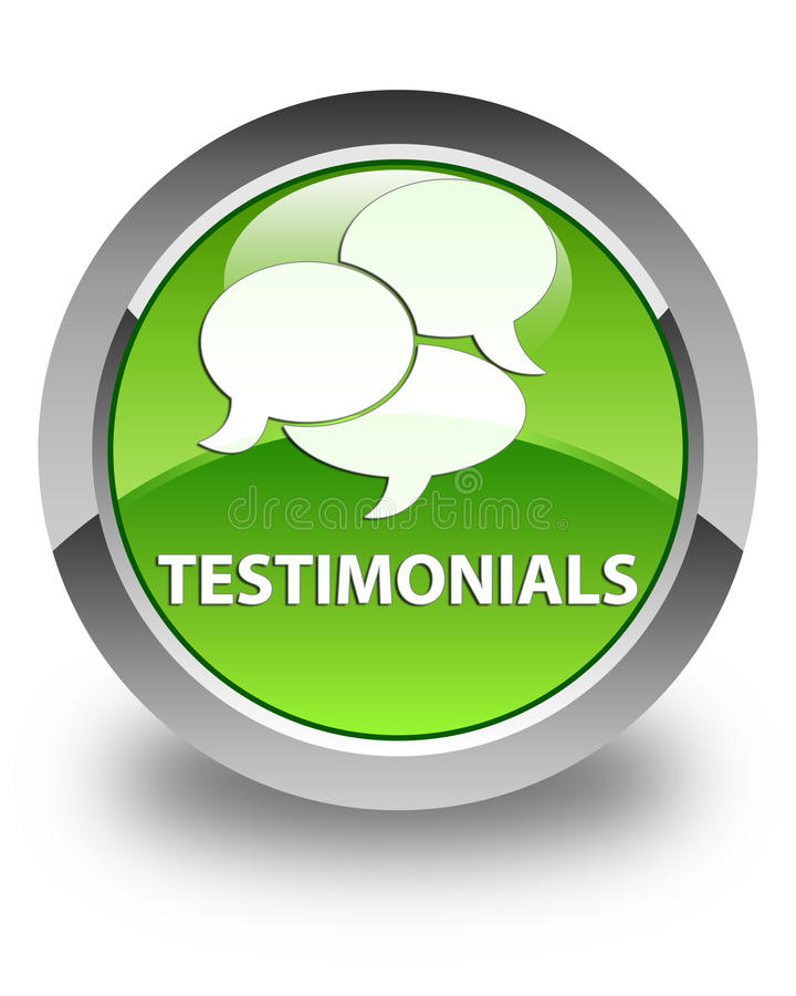 Testimonials (comments icon) glossy green round button. Testimonials (comments icon) isolated on glossy green round button abstract illustration vector illustration