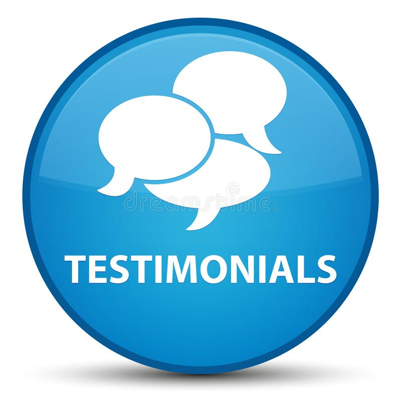 Testimonials (comments icon) special cyan blue round button vector illustration