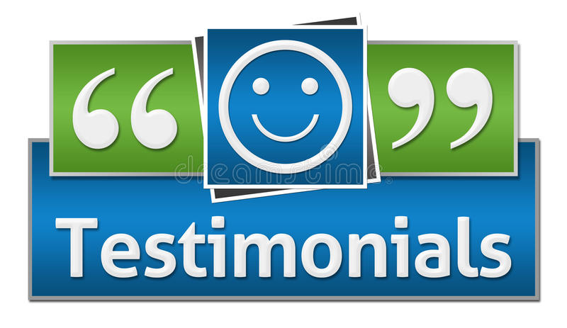 Testimonials Green Blue Squares. Testimonials concept image with text and related symbols stock illustration