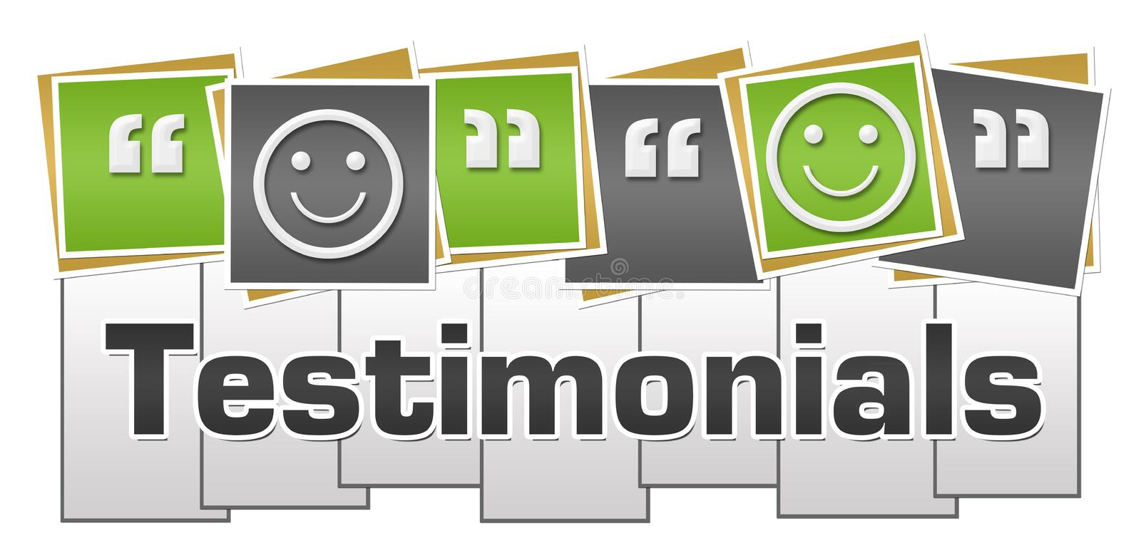 Testimonials Green Grey Squares Stripes. Testimonials concept image with text and related symbol stock illustration