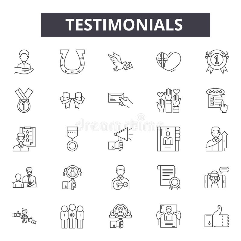 Testimonials line icons, signs, vector set, outline illustration concept. Testimonials line icons, signs, vector set, outline concept illustration vector illustration