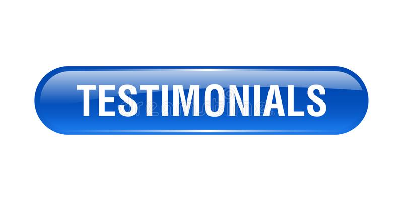 Testimonials button. Testimonials web button - computer generated illustration on isolated white background stock illustration