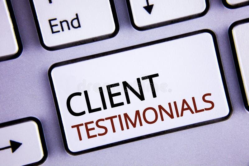 Testimonianze del cliente di scrittura del testo della scrittura Le esperienze personali del cliente di significato di concetto e fotografia stock libera da diritti