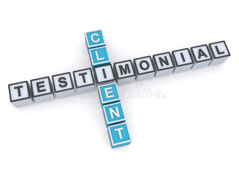 Testimonial, Client. Testimonial and client written in blocks crossword style on white background stock illustration