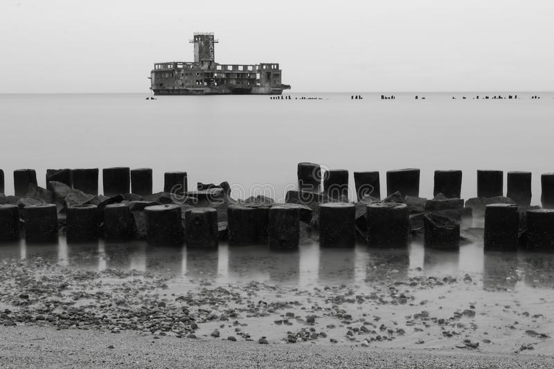 Testing center of torpedoes, Babie Doly, Poland. Testing center of torpedoes for Luftwaffe during the World War II and wooden breakwaters, Gdynia Babie Doly stock image