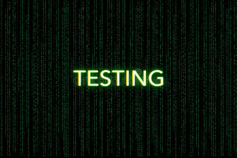 Testing, keyword of scrum, on a green matrix background royalty free stock photos