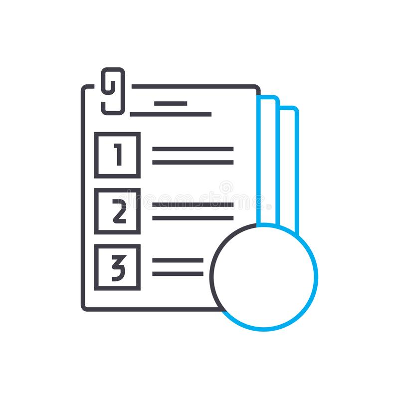 Testing of knowledge vector thin line stroke icon. Testing of knowledge outline illustration, linear sign, symbol royalty free illustration