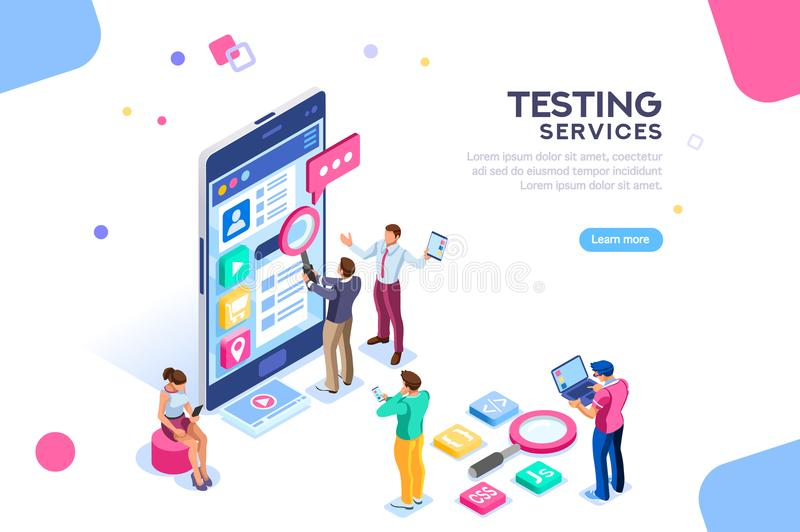 Software Testing Services Process Banner stock illustration