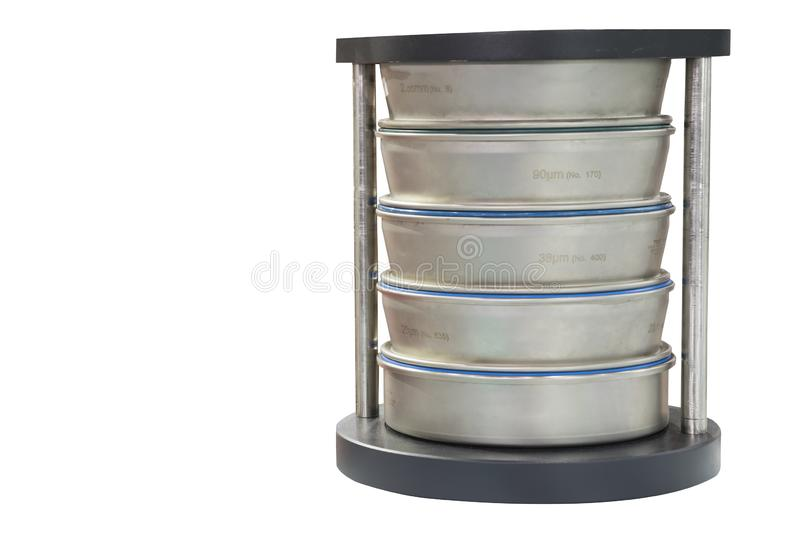Testing size of material by sieve analysis for laboratory. Die Cut , white background royalty free stock photo