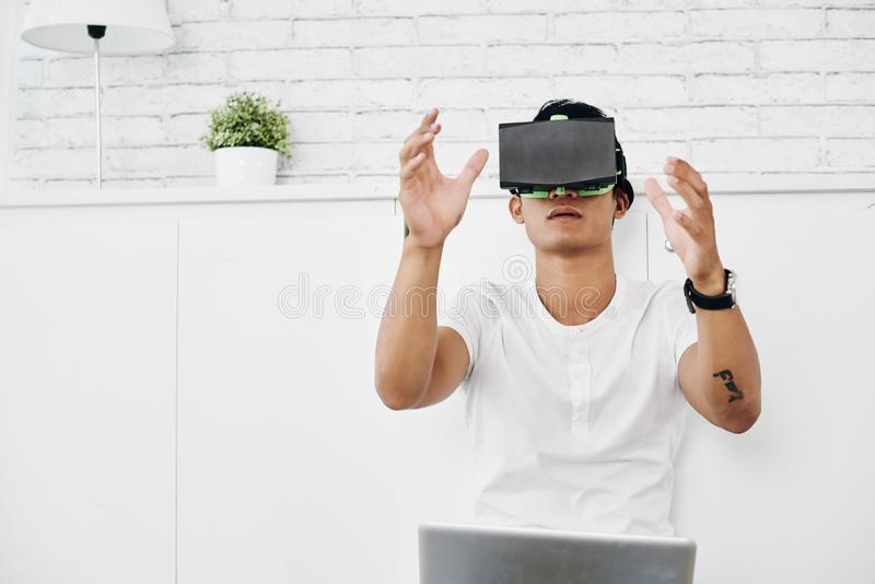 Testing VR application stock images