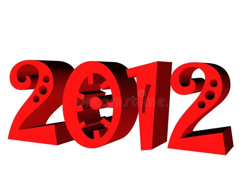 testo 2012 3d illustrazione vettoriale